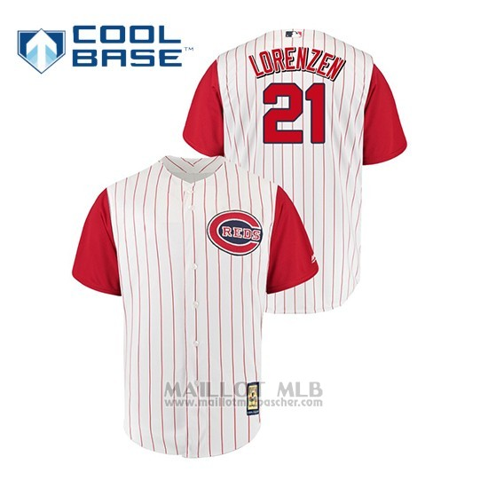 Maillot Baseball Homme Cincinnati Reds 21 Michael L Orenzen Throwback 1961 Cool Base Blanc Rouge