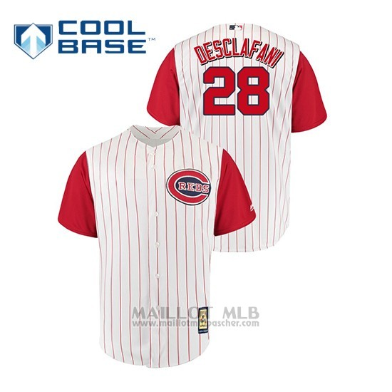 Maillot Baseball Homme Cincinnati Reds 28 Anthony Desclafani Throwback 1961 Cool Base Blanc Rouge