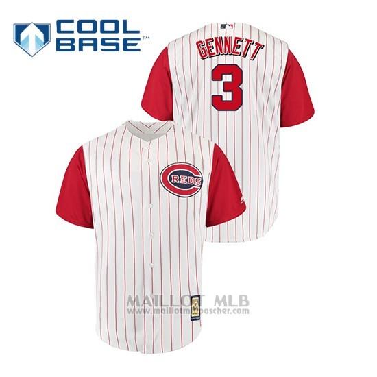 Maillot Baseball Homme Cincinnati Reds 3 Scooter Gennett Throwback 1961 Cool Base Blanc Rouge