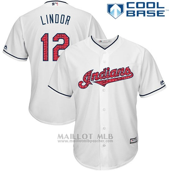 Maillot Baseball Homme Cleveland Indians 2017 Estrellas y Rayas 12 Francisco Lindor Blanc Cool Base