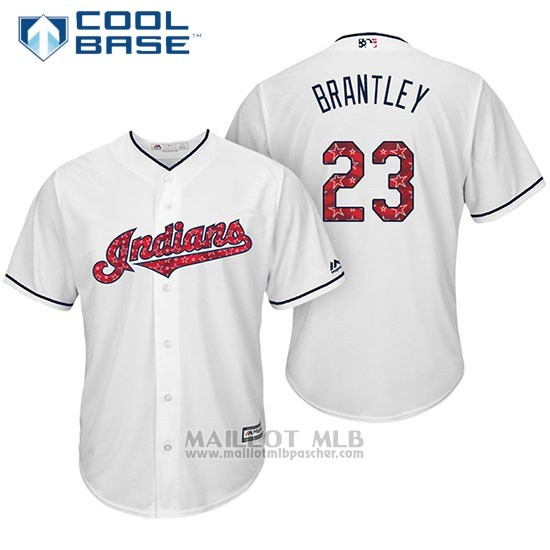 Maillot Baseball Homme Cleveland Indians 2017 Estrellas y Rayas 23 Michael Brantley Blanc Cool Base
