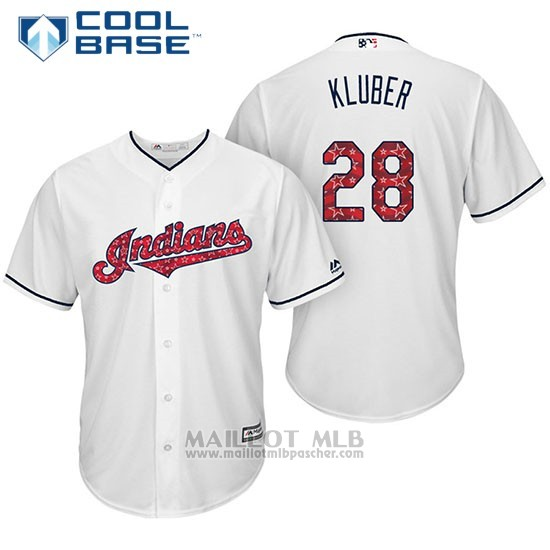 Maillot Baseball Homme Cleveland Indians 2017 Estrellas y Rayas 28 Corey Kluber Blanc Cool Base