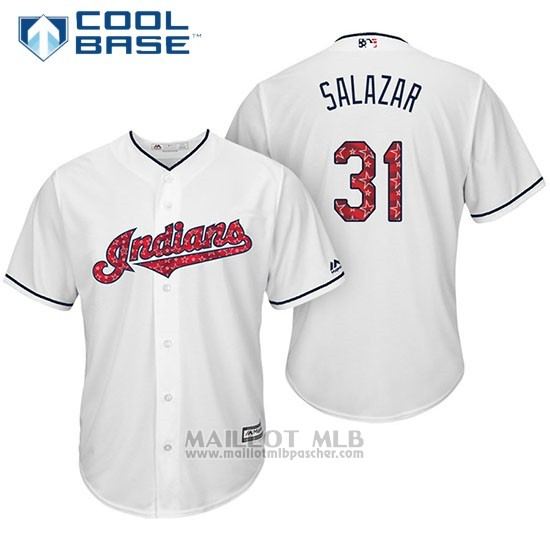 Maillot Baseball Homme Cleveland Indians 2017 Estrellas y Rayas 31 Danny Salazar Blanc Cool Base