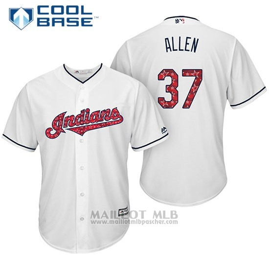 Maillot Baseball Homme Cleveland Indians 2017 Estrellas y Rayas 37 Cody Allen Blanc Cool Base