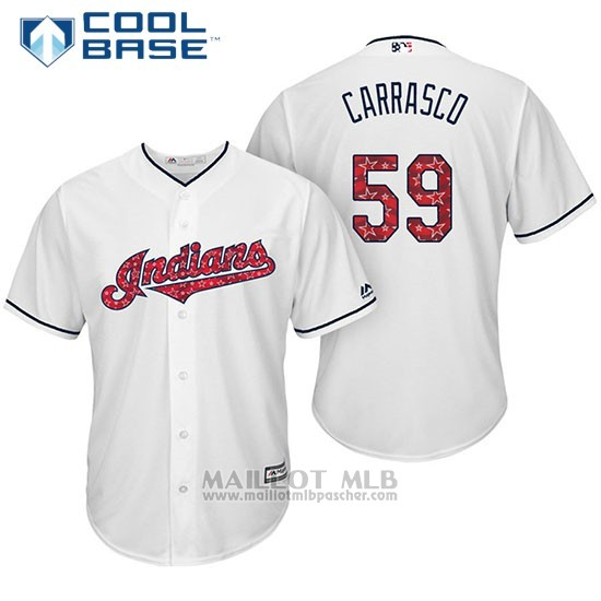 Maillot Baseball Homme Cleveland Indians 2017 Estrellas y Rayas 59 Carlos Carrasco Blanc Cool Base