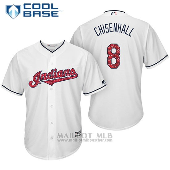 Maillot Baseball Homme Cleveland Indians 2017 Estrellas y Rayas 8 Lonnie Chisenhall Blanc Cool Base