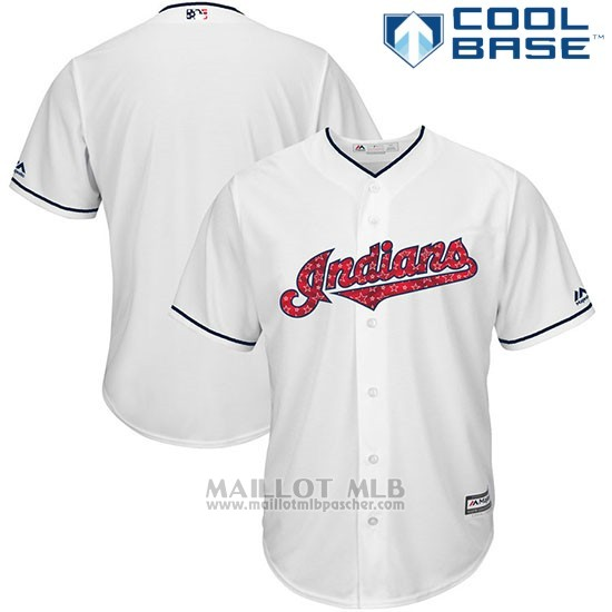 Maillot Baseball Homme Cleveland Indians 2017 Estrellas y Rayas Blanc Cool Base