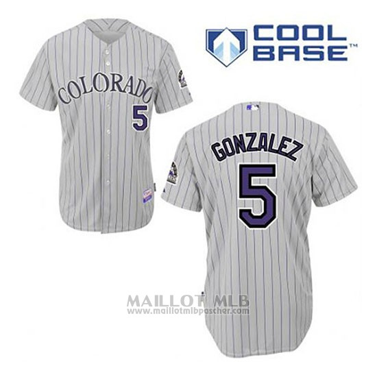Maillot Baseball Homme Colorado Rockies Carlos Gonzalez 5 Gris Volet Cool Base