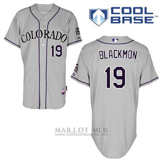 Maillot Baseball Homme Colorado Rockies Charlie Noirmon 19 Gris Cool Base