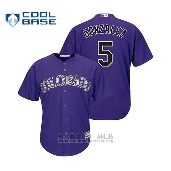 Maillot Baseball Homme Colorado Rockies Carlos Gonzalez Cool Base Official Alterno Purple