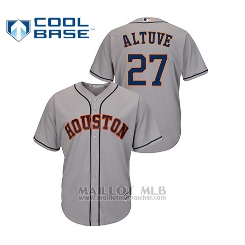 Maillot Baseball Hombre Houston Astros 27 Jose Altuve Cool Base Road Gris