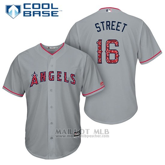 Maillot Baseball Homme Los Angeles Angels 2017 Estrellas y Rayas Huston Street Gris Cool Base