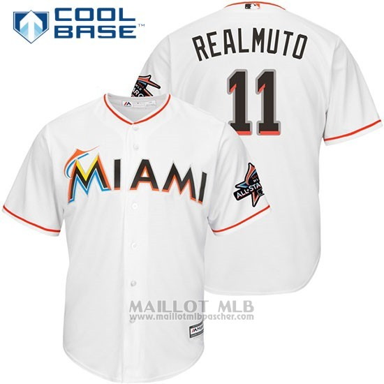 Maillot Baseball Homme Miami Marlins 11 J.t. Realmuto Blanc2017 Cool Base