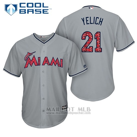 Maillot Baseball Homme Miami Marlins 2017 Estrellas y Rayas Christian Yelich Gris Cool Base