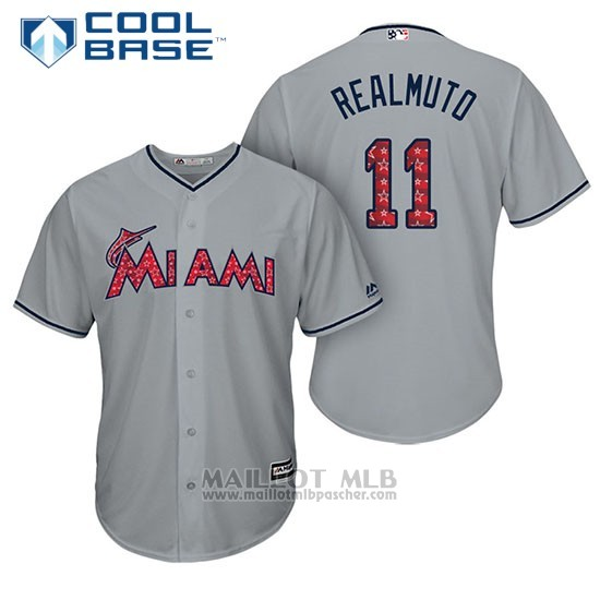Maillot Baseball Homme Miami Marlins 2017 Estrellas y Rayas J.t. Realmuto Gris Cool Base