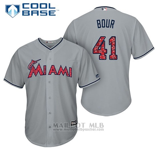 Maillot Baseball Homme Miami Marlins 2017 Estrellas y Rayas Justin Bour Gris Cool Base