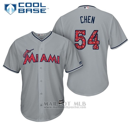 Maillot Baseball Homme Miami Marlins 2017 Estrellas y Rayas Wei Yin Chen Gris Cool Base