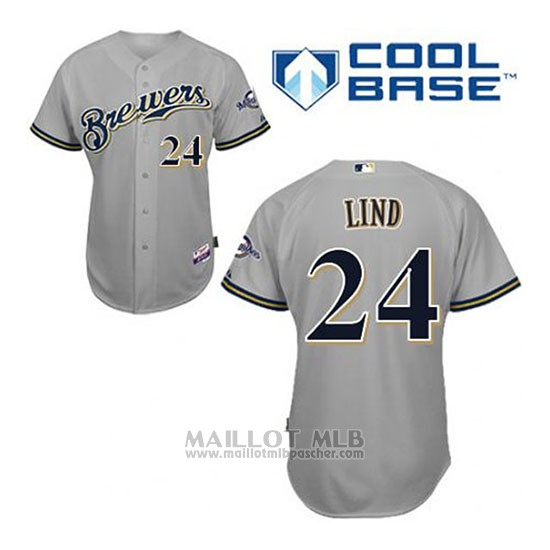 Maillot Baseball Homme Milwaukee Brewers Adam Lind 24 Gris Cool Base