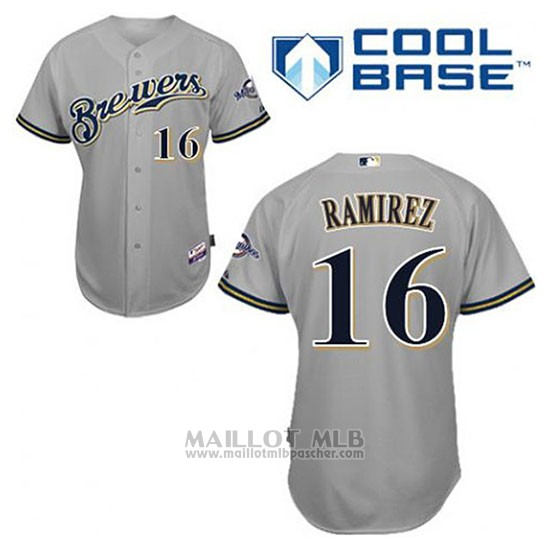 Maillot Baseball Homme Milwaukee Brewers Aramis Ramirez 16 Gris Cool Base