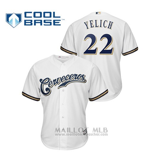 Maillot Baseball Hombre Milwaukee Brewers 22 Christian Yelich Cool Base Majestic Domicile Hispanic Heritage Blanc