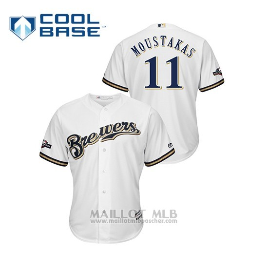 Maillot Baseball Homme Milwaukee Brewers 11 Mike Moustakas 2019 Postseason Cool Base Blanc