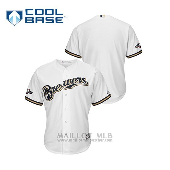 Maillot Baseball Homme Milwaukee Brewers 2019 Postseason Cool Base Blanc
