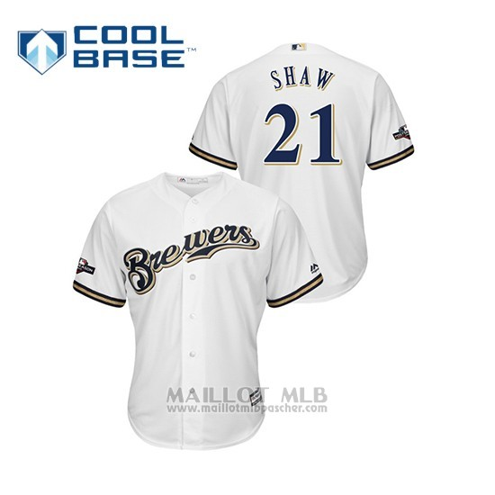 Maillot Baseball Homme Milwaukee Brewers 21 Travis Shaw 2019 Postseason Cool Base Blanc