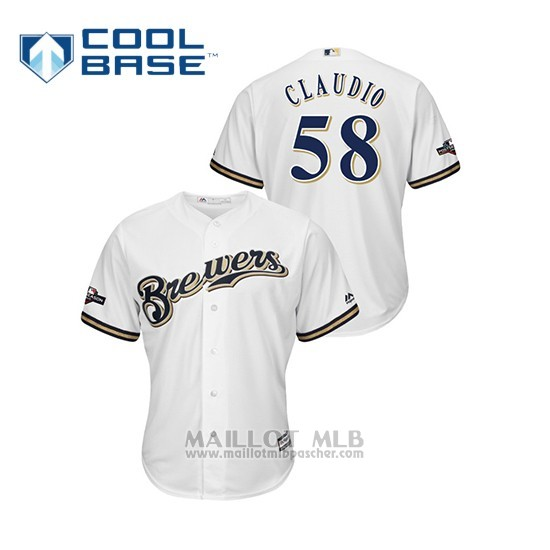 Maillot Baseball Homme Milwaukee Brewers 58 Alex Claudio 2019 Postseason Cool Base Blanc