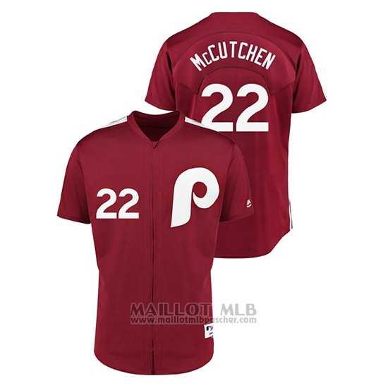 Maillot Baseball Homme Philadelphia Phillies 22 Andrew Mccutchen 1979 Saturday Night Special Authentique Rouge
