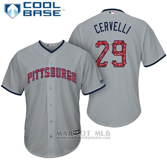 Maillot Baseball Homme Pittsburgh Pirates 2017 Estrellas y Rayas Francisco Cervelli Gris Cool Base