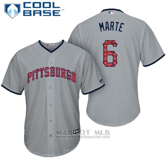 Maillot Baseball Homme Pittsburgh Pirates 2017 Estrellas y Rayas Starling Marte Gris Cool Base