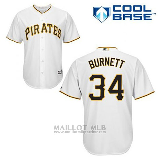 Maillot Baseball Homme Pittsburgh Pirates A.j. Burnett 34 Blanc Domicile Cool Base