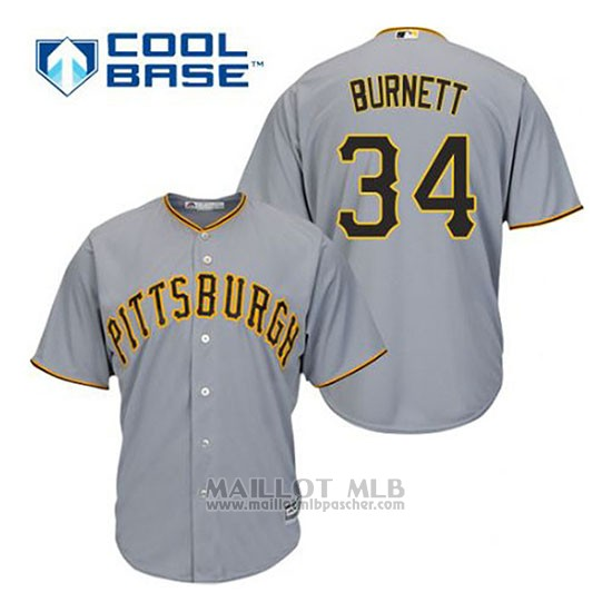 Maillot Baseball Homme Pittsburgh Pirates A.j. Burnett 34 Gris Cool Base