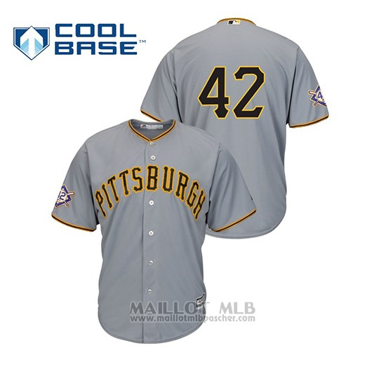 Maillot Baseball Homme Pittsburgh Pirates 2019 Jackie Robinson Day Cool Base Gris