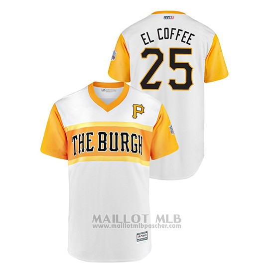 Maillot Baseball Homme Pittsburgh Pirates 25 Greg Ory Polanco 2019 Little League Classic El Coffee Replica Blanc