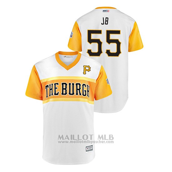 Maillot Baseball Homme Pittsburgh Pirates 55 Josh Bell 2019 Little League Classic Jb Replica Blanc