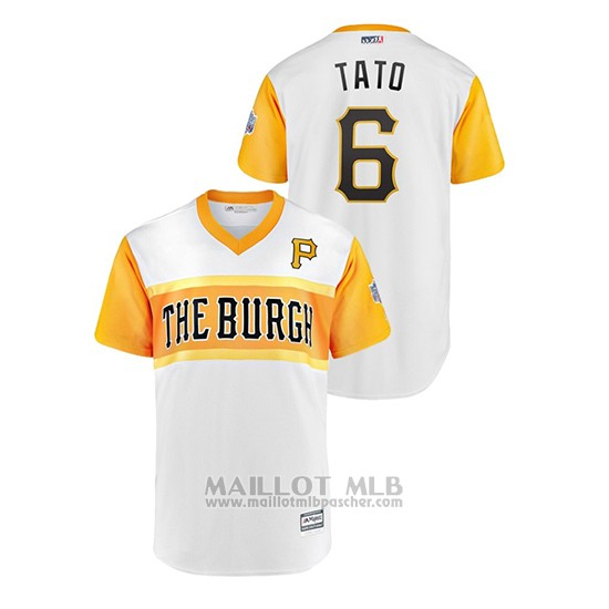 Maillot Baseball Homme Pittsburgh Pirates 6 Starling Marte 2019 Little League Classic Tato Replica Blanc