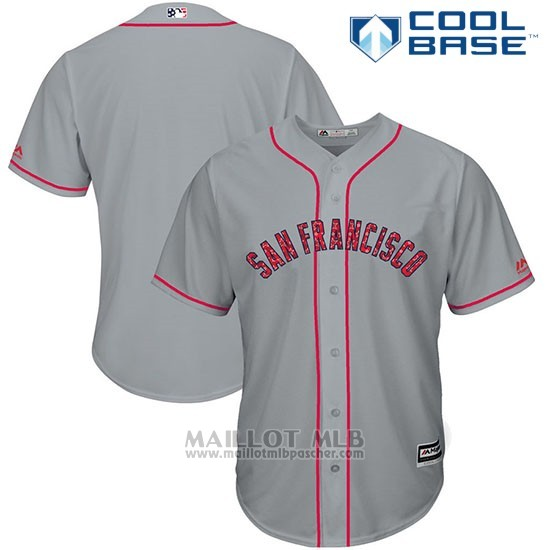 Maillot Baseball Homme San Francisco Giants 2017 Estrellas y Rayas Gris Cool Base