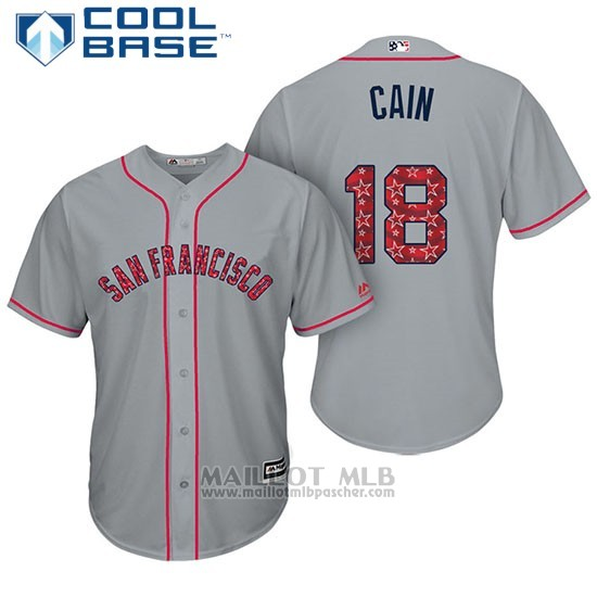 Maillot Baseball Homme San Francisco Giants 2017 Estrellas y Rayas Matt Cain Gris Cool Base