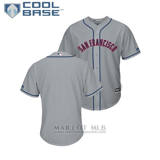 Maillot Baseball Homme San Francisco Giants 2018 Stars & Stripes Cool Base Gris