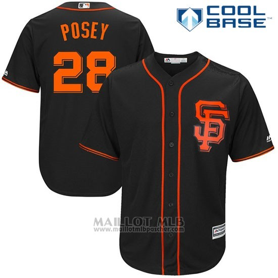 Maillot Baseball Homme San Francisco Giants 28 Buster Posey Noir 2017 Cool Base