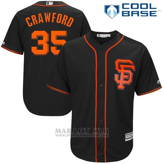 Maillot Baseball Homme San Francisco Giants 35 Brandon Crawford Noir 2017 Cool Base