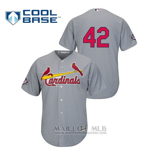 Maillot Baseball Homme St. Louis Cardinals 2019 Jackie Robinson Day Cool Base Gris