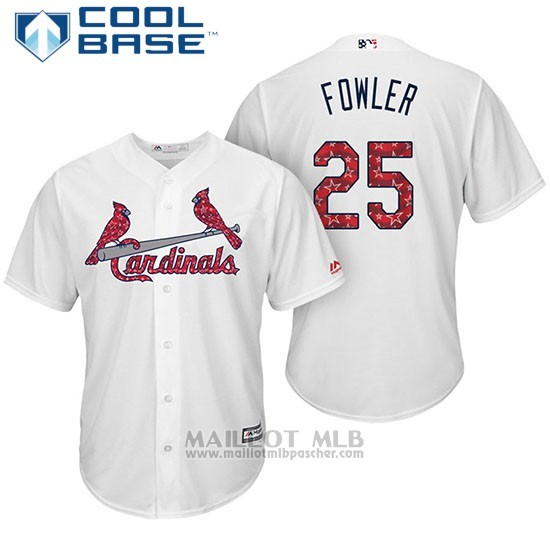 Maillot Baseball Homme St. Louis Cardinals 2017 Estrellas y Rayas Dexter Fowler Blanc Cool Base