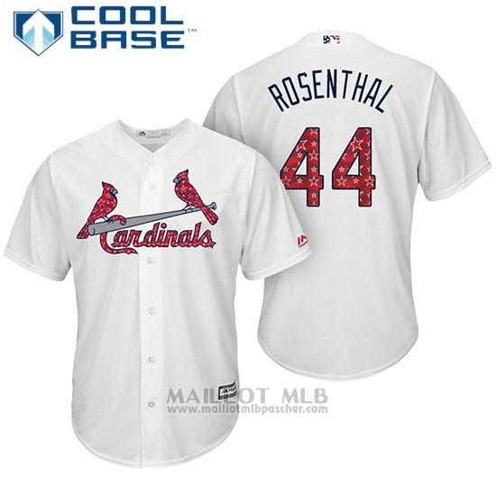 Maillot Baseball Homme St. Louis Cardinals 2017 Estrellas y Rayas Trevor Rosenthal Blanc Cool Base