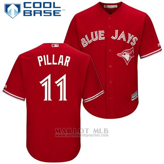 Maillot Baseball Homme Toronto Blue Jays 11 Kevin Pillar Rouge2017 Cool Base