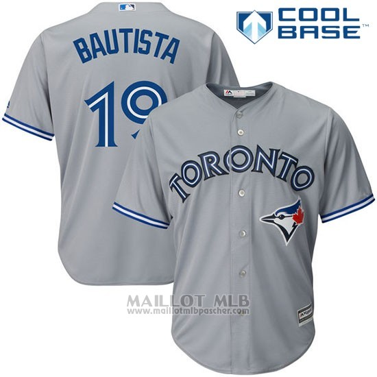 Maillot Baseball Homme Toronto Blue Jays 19 Jose Bautista Cool Base Majestic Coleccion Gris