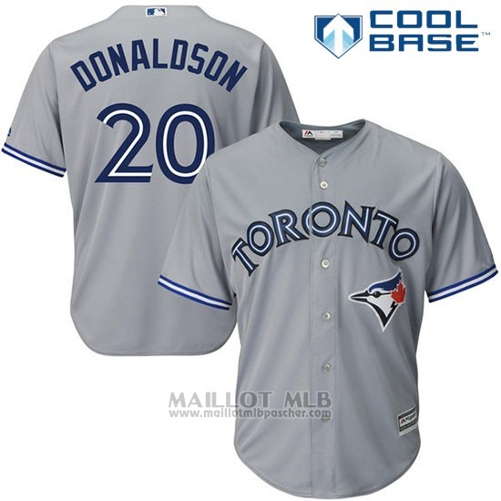 Maillot Baseball Homme Toronto Blue Jays 20 Josh Donaldson Gris Cool Base Majestic Coleccion