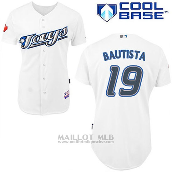 Maillot Baseball Homme Toronto Blue Jays Blanc Jose Bautista Majestic Cool Base Joueur