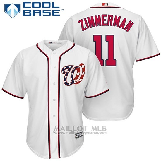 Maillot Baseball Homme Washington Nationals 11 Ryan Zimmerman Blanc2017 Cool Base